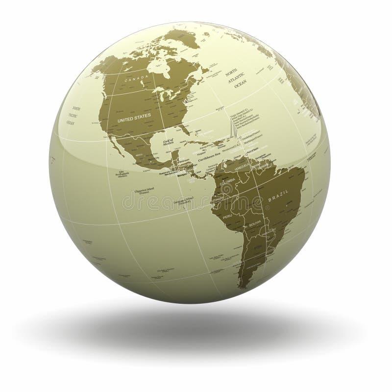 在空白背景的政治世界地球。 3d 向量例证