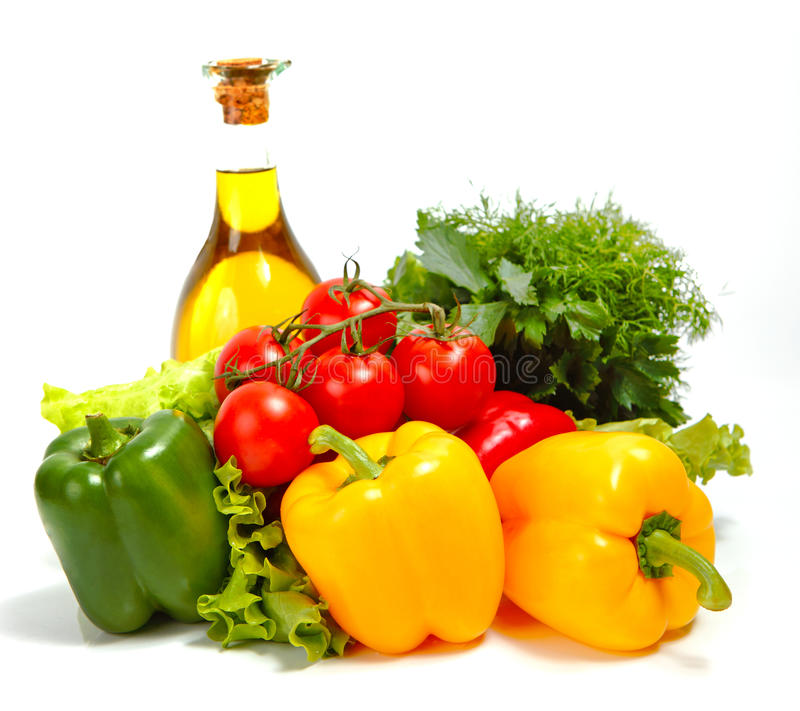 在空白背景的新鲜蔬菜 库存图片