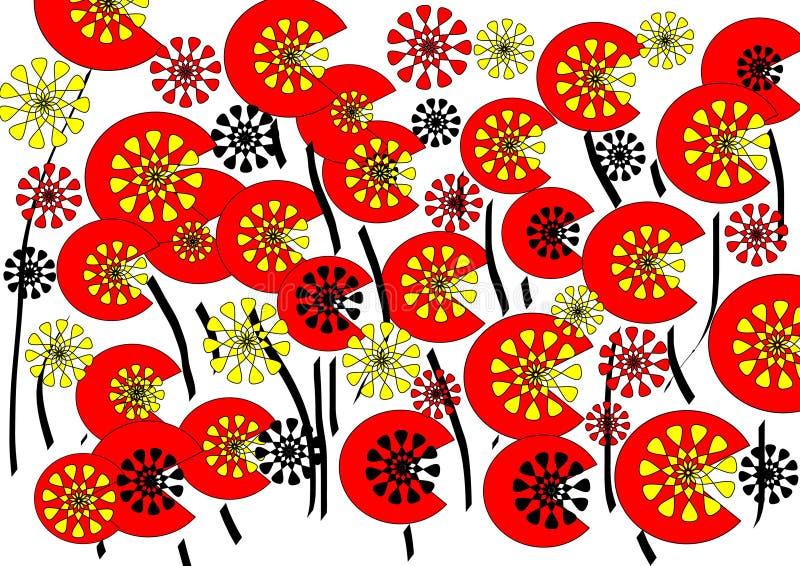 在空白背景的明亮的现代抽象花卉设计 免版税图库摄影