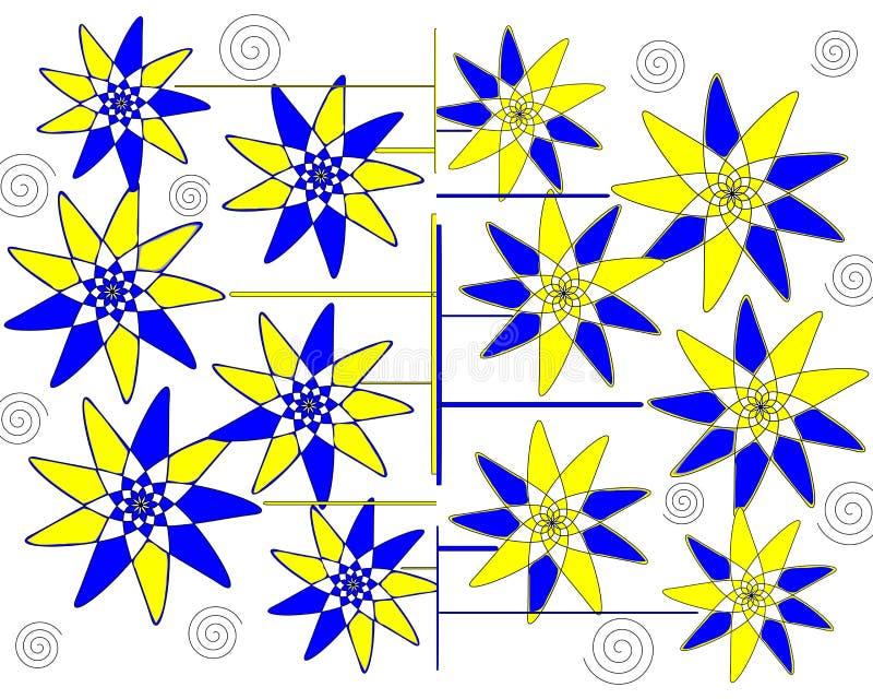 在空白背景的现代花卉有花瓣抽象设计 图库摄影