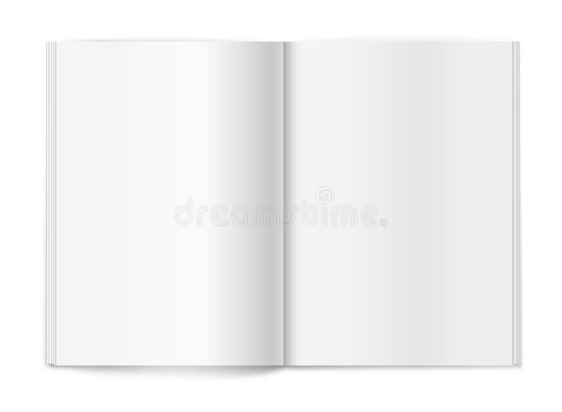 在空白背景的空白杂志。 模板 库存例证