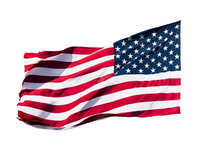 在空白背景的美国国旗 免版税库存照片