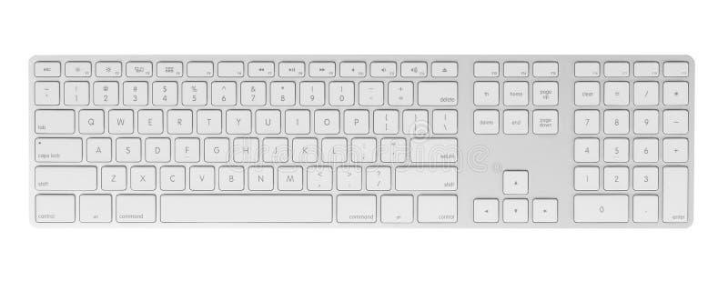 在空白背景的计算机键盘 免版税库存照片