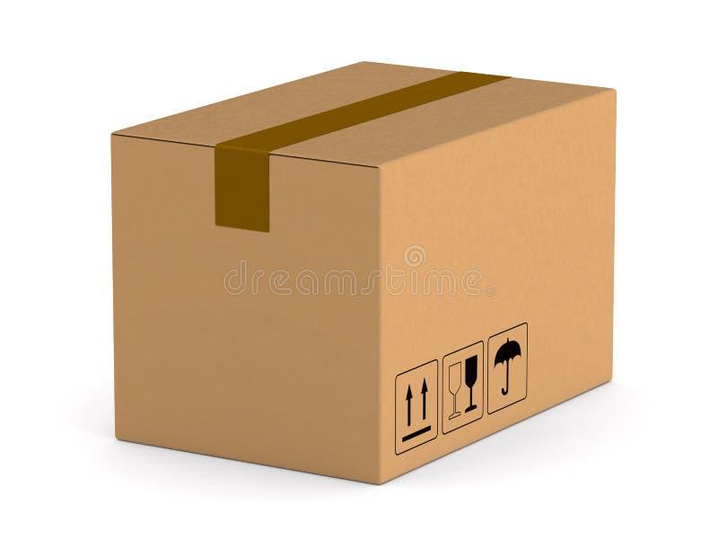 在空白背景的货物配件箱 被隔绝的3d例证 库存例证