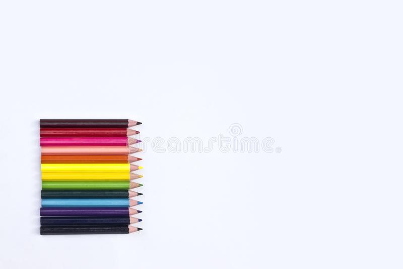 在空白背景的颜色铅笔 库存照片