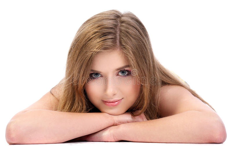 在空白背景isoalted的女孩 免版税库存图片