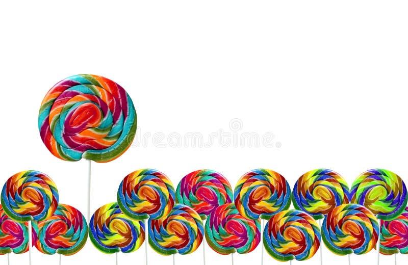 在空白backgroun查出的五颜六色的棒棒糖 向量例证