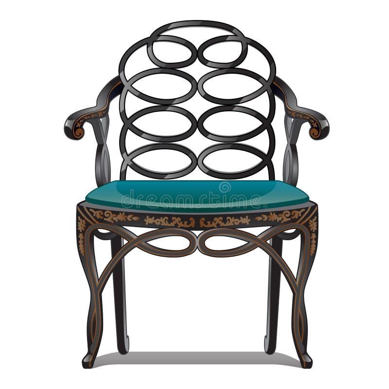 在空白background.beautiful查出的葡萄酒椅子仿古被填充的椅子 也corel凹道例证向量 皇族释放例证