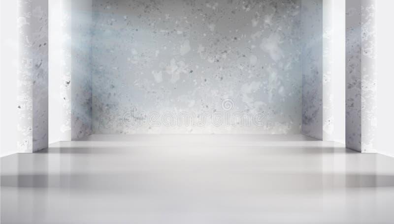 在空的内部的混凝土墙 r 向量例证