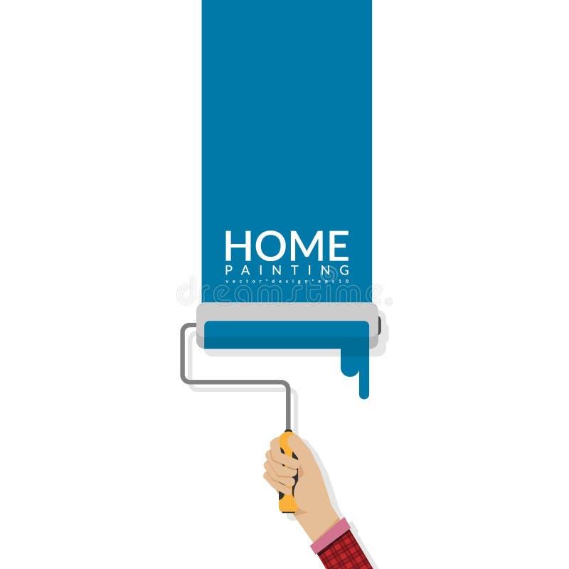 在空的墙壁上的漆滚筒手中绘画蓝色颜色有词的家和您的文本或公司名称的拷贝空间 建筑壁画 皇族释放例证