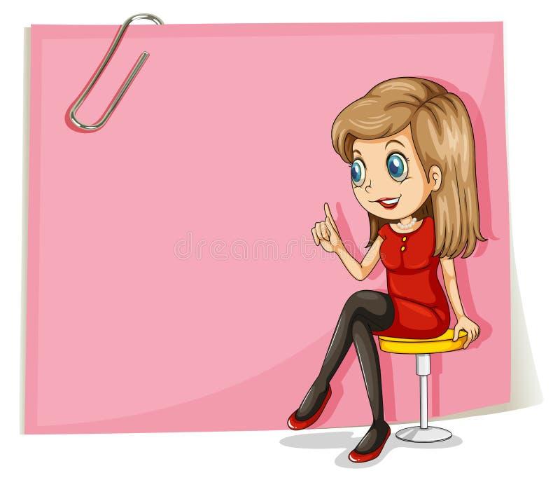 在空的桃红色标志前面的一个俏丽的夫人 向量例证