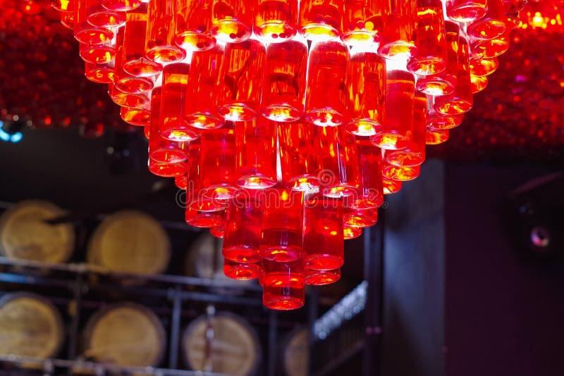 在空的瓶的红灯 免版税图库摄影