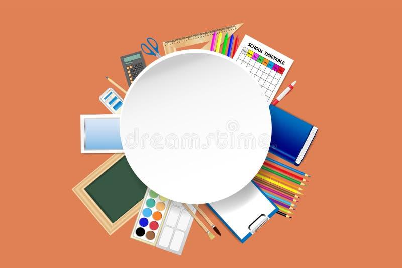 在空的白色圆板材附近的学校用品 库存例证