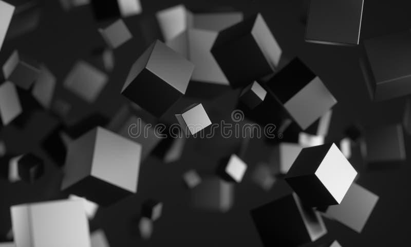在空的空间的科学幻想小说立方体 皇族释放例证