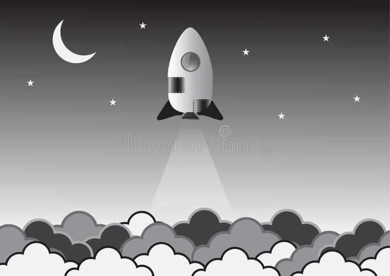 在空间创造性的想法的老火箭 ?? ?? 向量例证