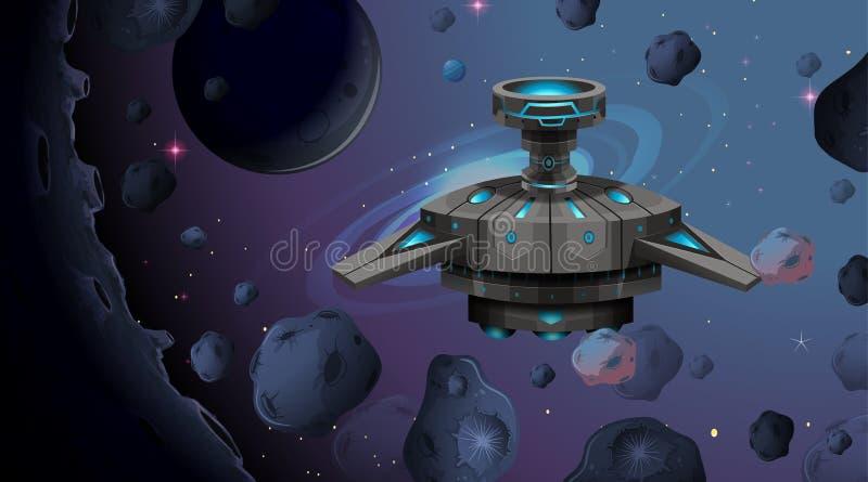在空间场面的外籍人船 皇族释放例证