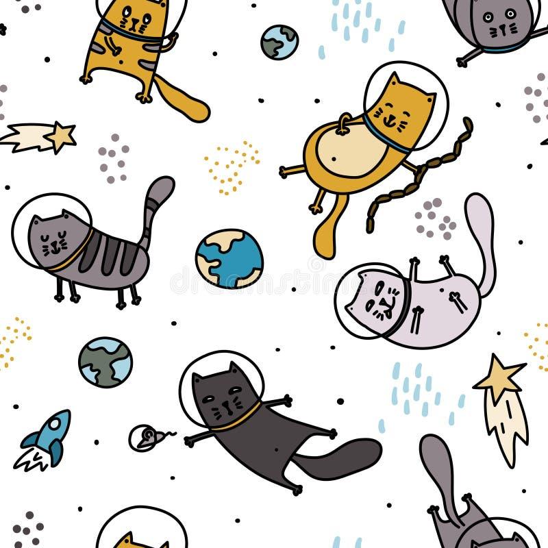 在空间无缝的样式的猫 乱画手拉的斯堪的纳维亚幼稚背景 皇族释放例证