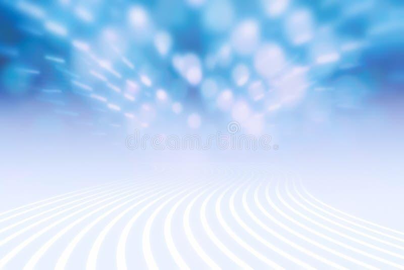 在空间的波浪线路和发光的轻的bokeh r 皇族释放例证