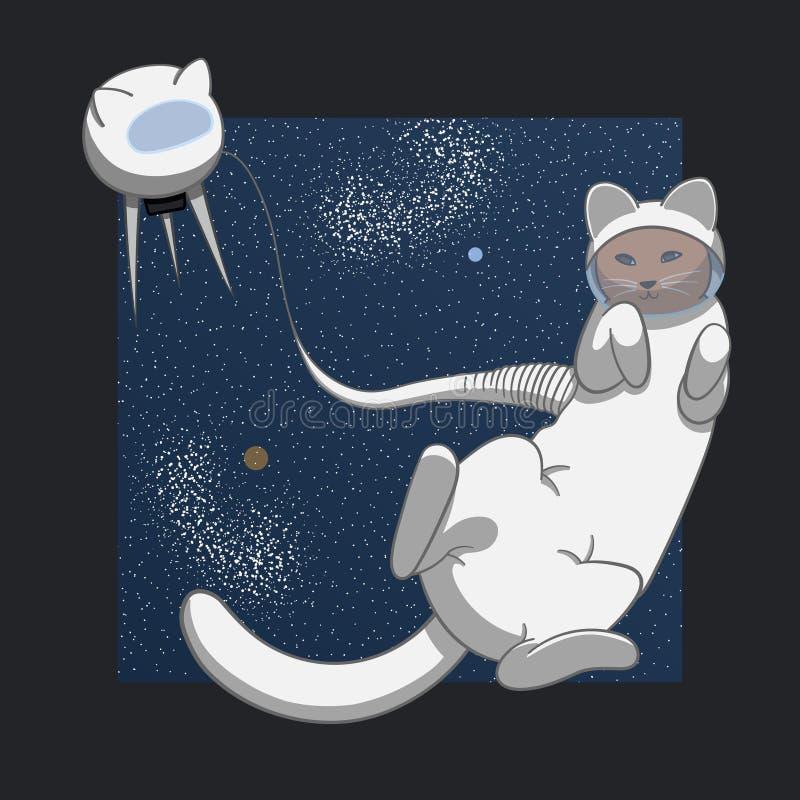 在空间的猫 库存例证