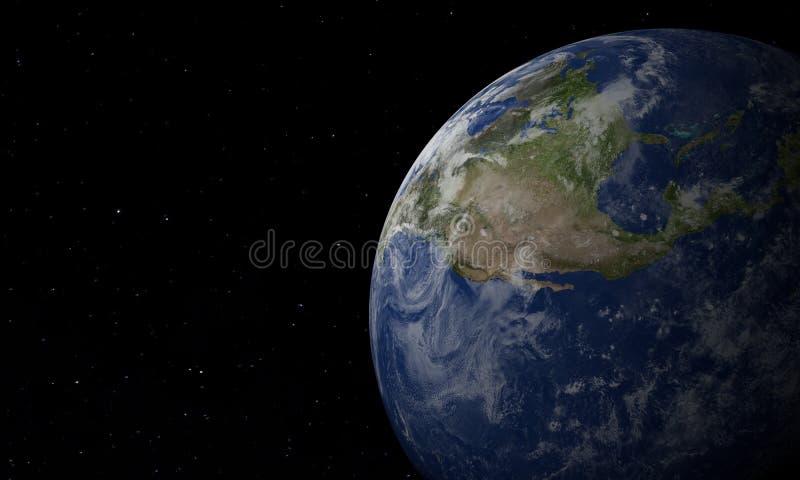 在空间的行星地球与她的大气 3d - ?? 库存例证