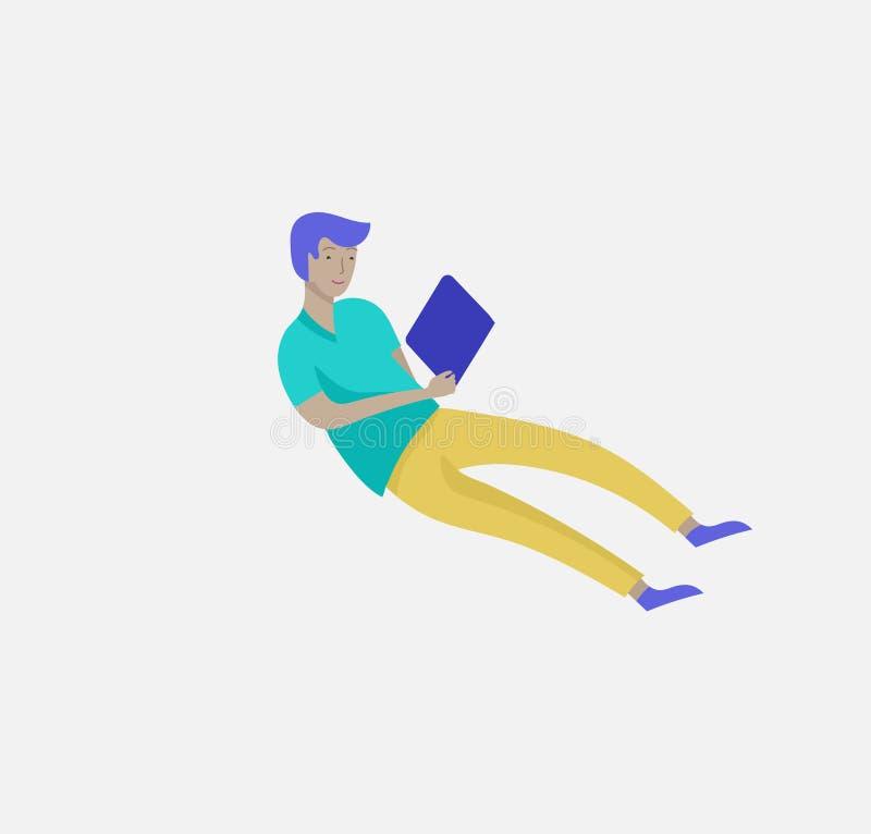 在空间的被启发的人飞行 移动和漂浮在梦想、想象力和启发的字符 r 向量例证