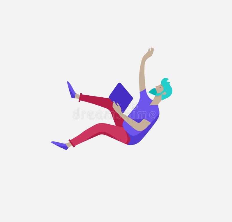 在空间的被启发的人飞行 移动和漂浮在梦想、想象力和启发的字符 r 皇族释放例证