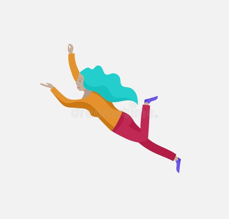 在空间的被启发的妇女飞行 移动和漂浮在梦想、想象力和启发的字符 r 向量例证
