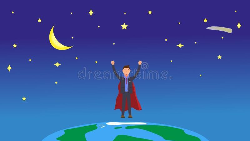 在空间的超级商人在行星地球 在宇宙和愉快的优胜者商人的星用被举的手 平的传染媒介 免版税库存图片