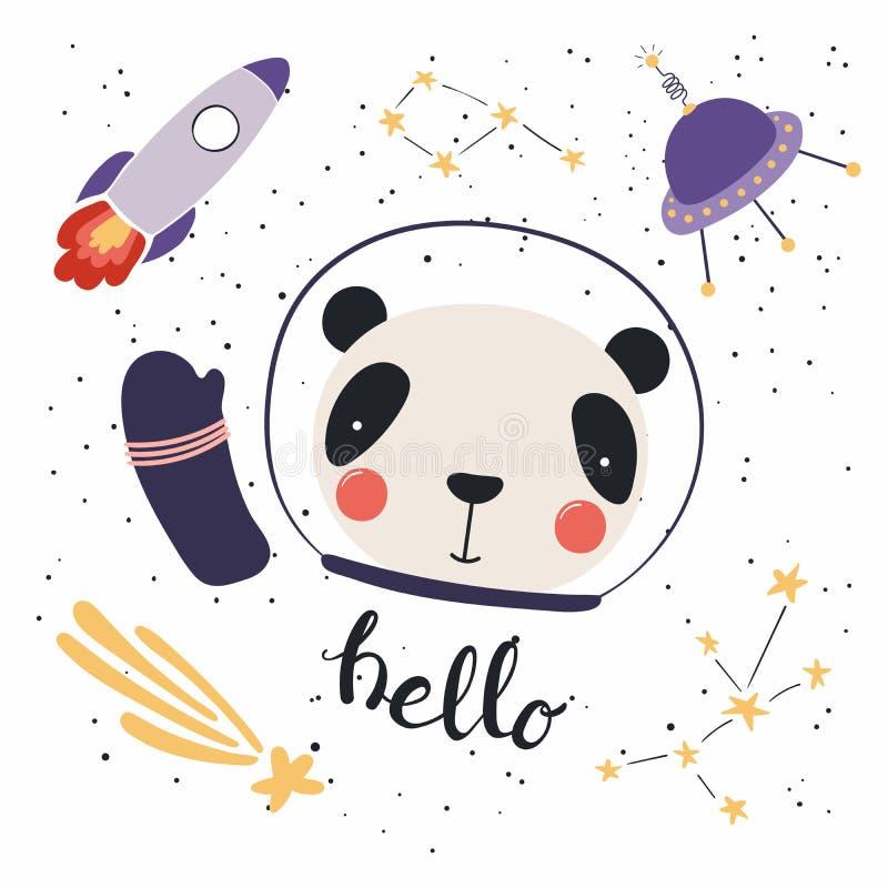 在空间的逗人喜爱的熊猫 库存例证