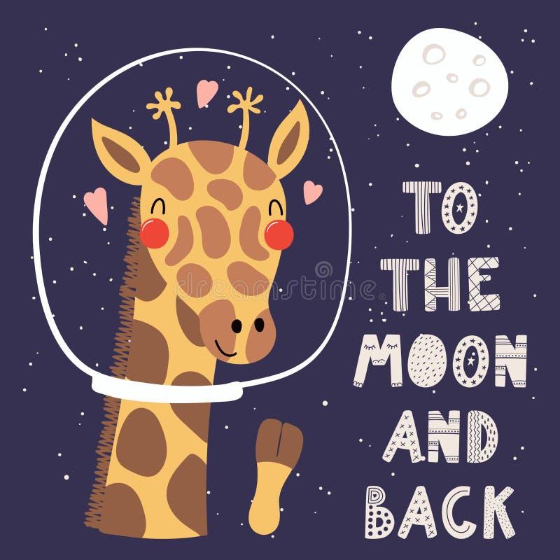 在空间的逗人喜爱的长颈鹿 库存例证