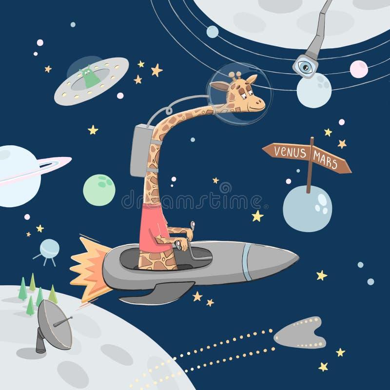 在空间的长颈鹿 孩子动物 托儿所例证 向量例证