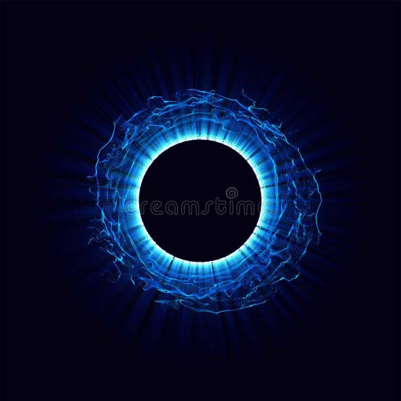 在空间的黑洞 与蓝色被定调子的在中心或collapsar被隔绝的漩涡和孔的抽象传染媒介背景  向量例证