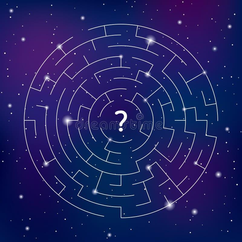 在空间背景的圆的迷宫,寻找您的道路 向量例证