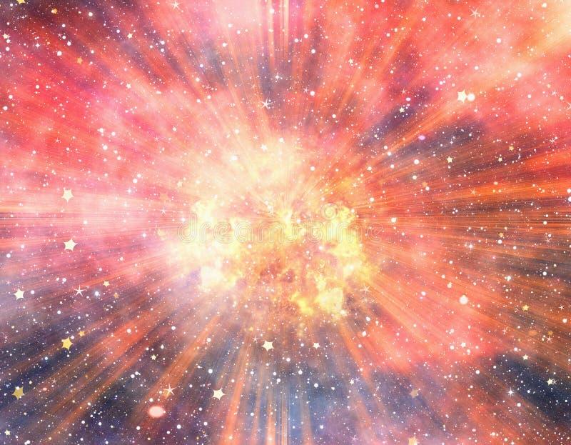 在空间背景的明亮的爆炸闪光 向量例证