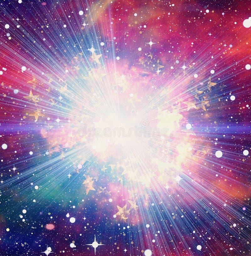 在空间背景的明亮的爆炸闪光 库存例证