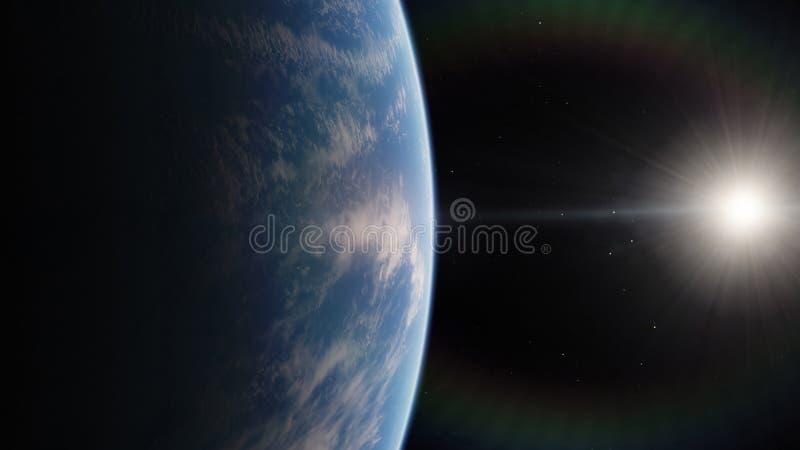 在空间附近,地球,蓝色行星 向量例证