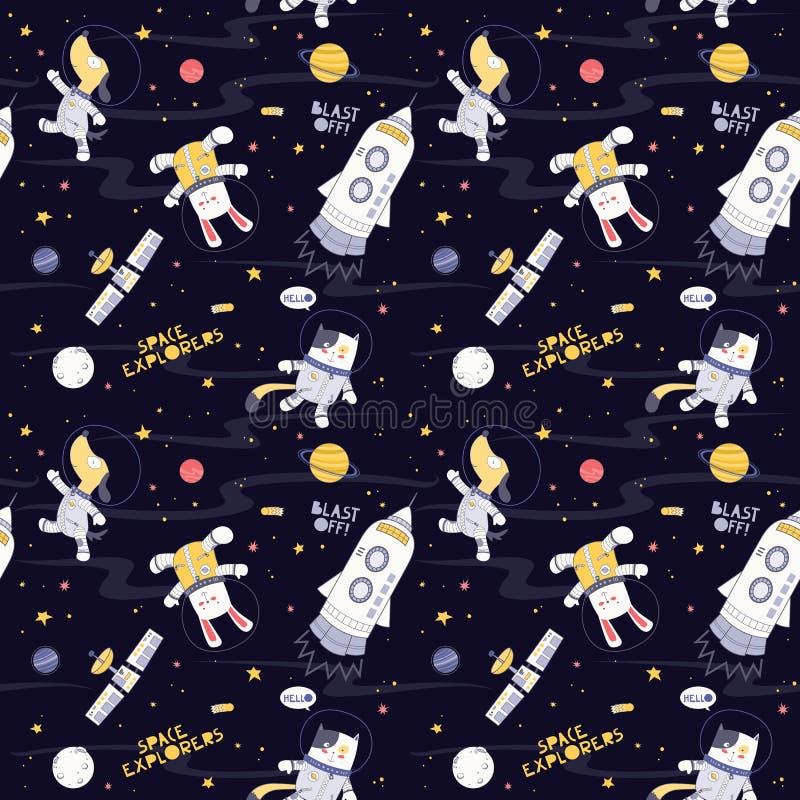 在空间黑暗的背景无缝的模式空间狗、猫,兔子探险家有火箭队的,行星和星的动物 免版税图库摄影