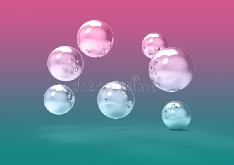 在空间3D图象驱散的未来派镀铬物球 库存例证