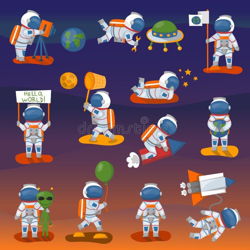 在空间的传染媒介宇航员字符另外姿势 皇族释放例证