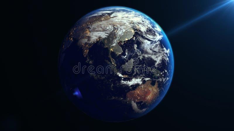 在空间的地球自转 聚会所 向量例证
