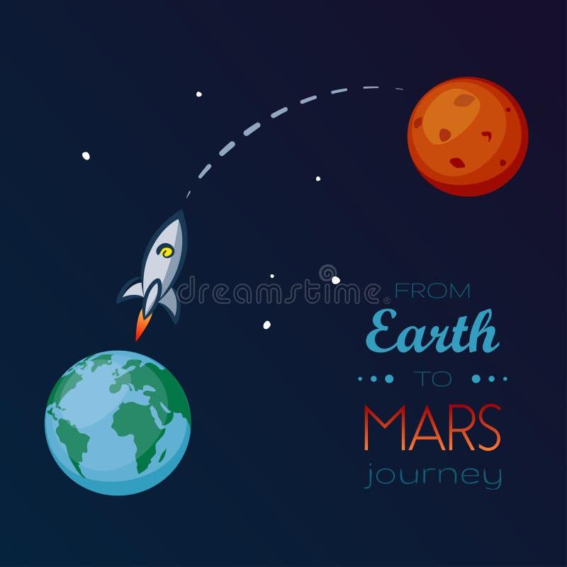 在空间的太空飞船飞行从地球到火星 向量例证