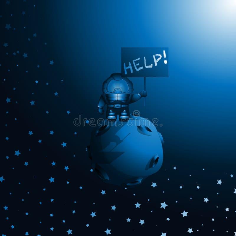 在空间的宇航员漂泊 向量例证