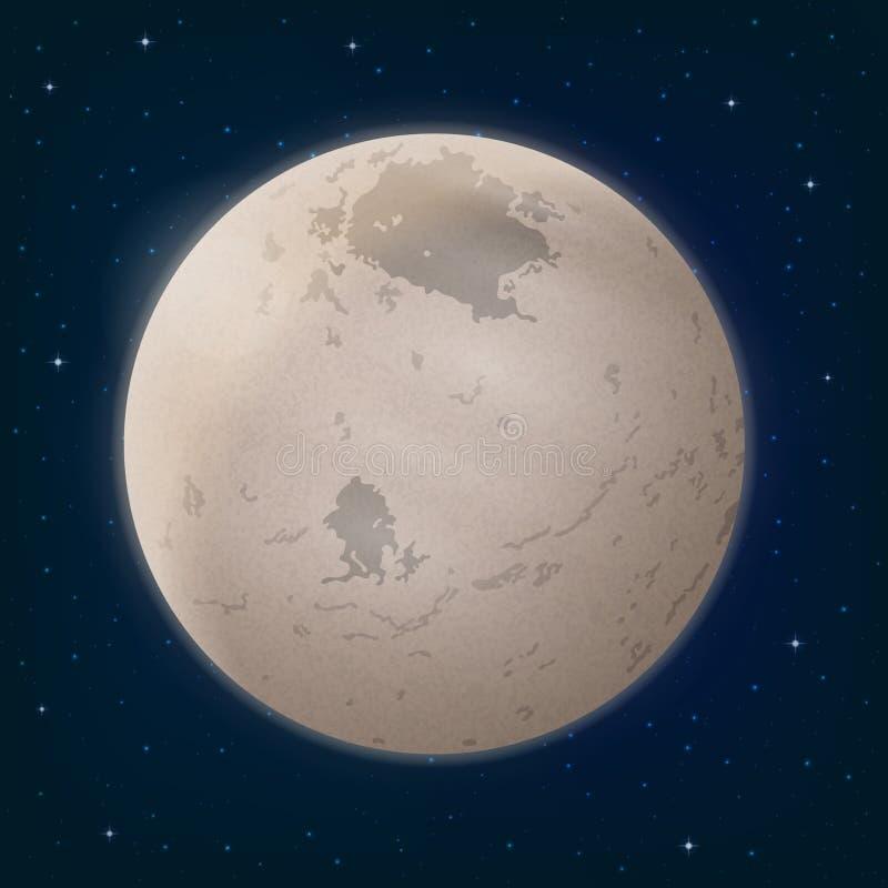 在空间的月亮冥卫一 向量例证
