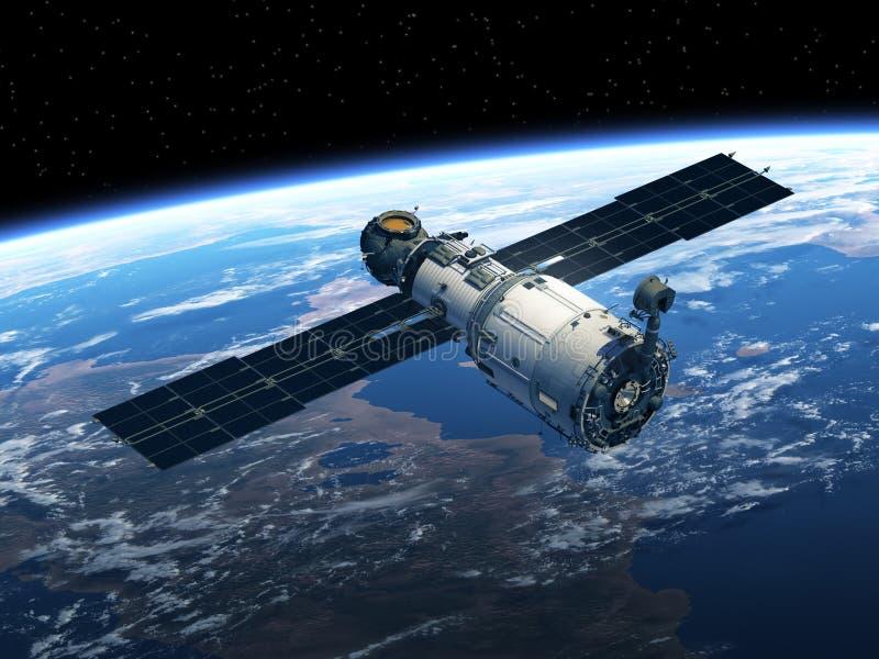 在空间的空间站 皇族释放例证