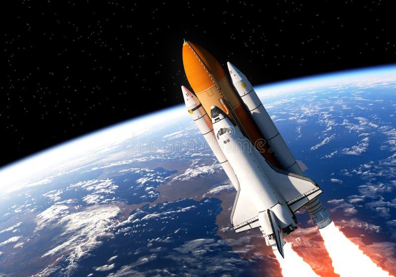 在空间的航天飞机 皇族释放例证