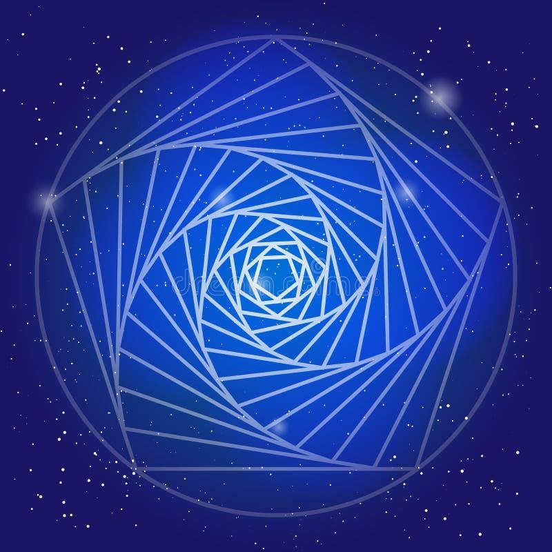 在空间的荐骨的标志,在与星的深蓝天 艺术背景设计grunge现代精神 时间走廊在宇宙的 库存例证
