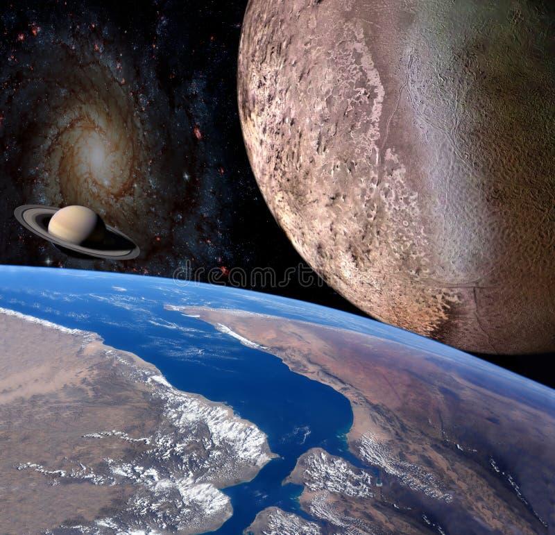 在空间的行星地球 向量例证