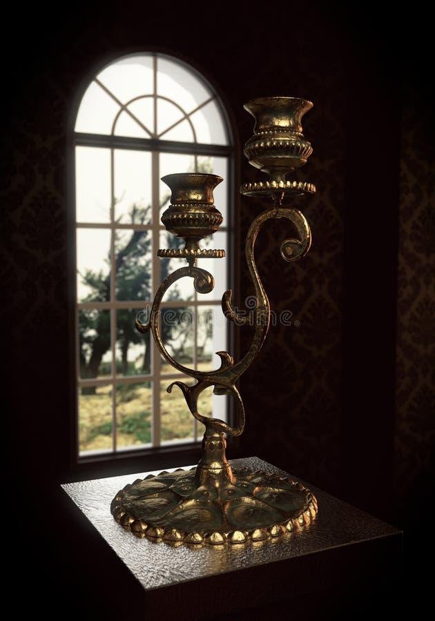 在窗口前面的老古铜色大烛台立场 库存照片