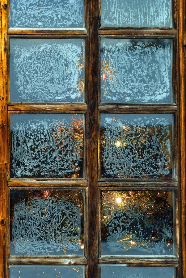 在窗口后的圣诞树与在玻璃的冷淡的样式 图库摄影