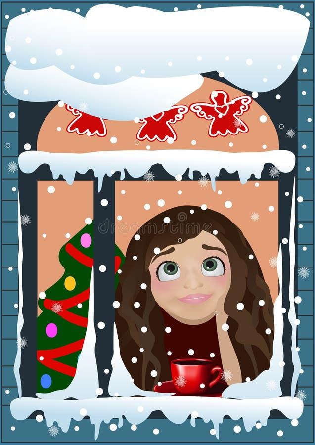 在窗口后的圣诞节女孩 皇族释放例证